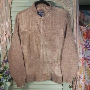 Vintage 80s leather/sweater zip-up men jacket sz M